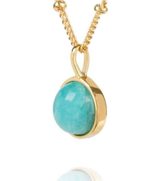Picture of Amazonite Healing Stone Necklace 18Ct Gold Plate