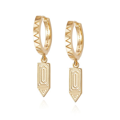 Picture of Artisan Drop Huggie Earrings 18ct Gold Plate
