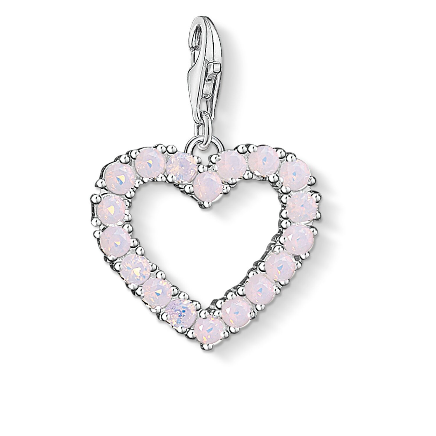 Picture of Open Heart with Pink Stones Charm