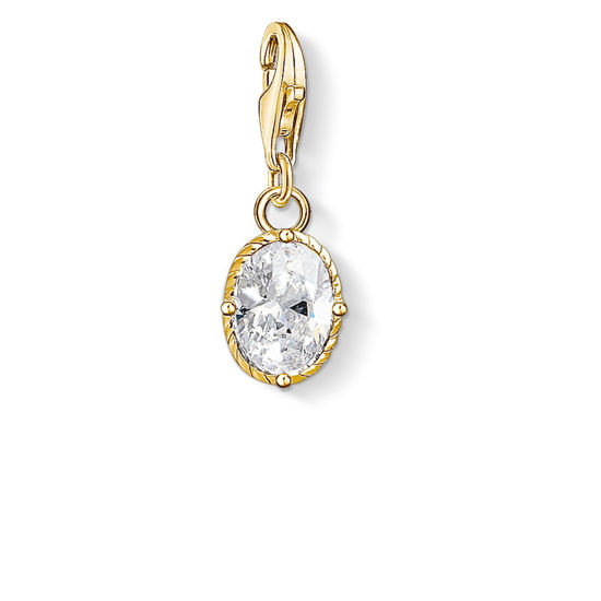 Picture of White Stone on Gold Charm