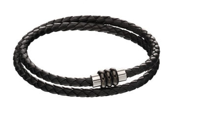 Picture of Section Tube Clasp Black Knot Leather Bracelet