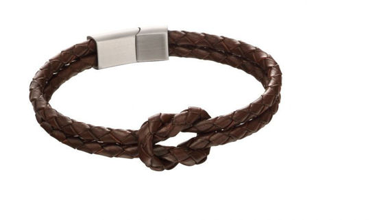 Picture of Double Row Knot Brown Leather Bracelet