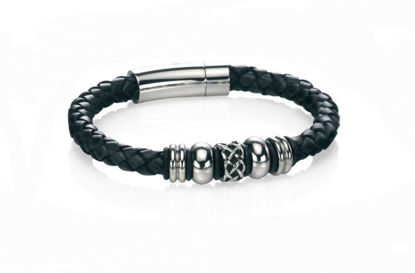 Picture of Stainless Steel Black Leather Celtic Bead Bracelet
