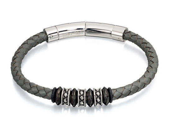 Picture of Grey Leather And Bead Adjustable Clasp Bracelet