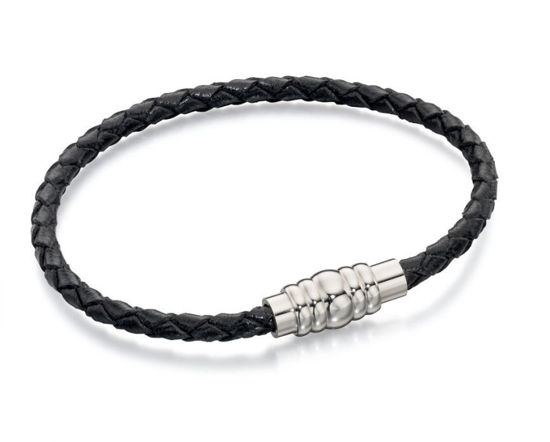 Picture of Skinny Stainless Steel Black Leather Bracelet With Magnetic Clasp 21cm