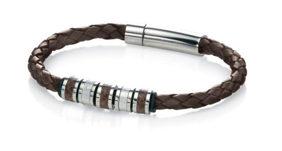 Picture of Stainless Steel Brown Leather Bead 21cm Bracelet