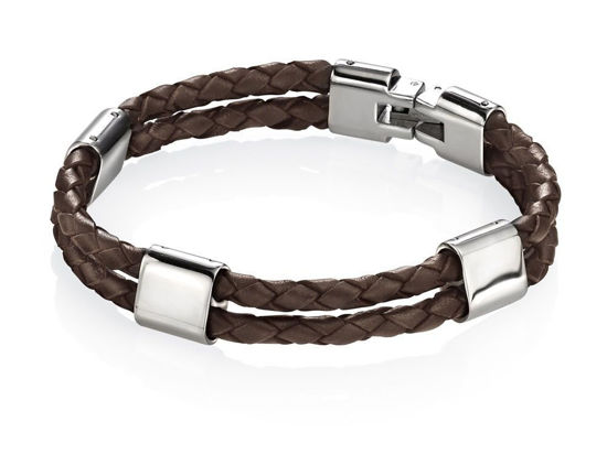Picture of Stainless Steel Brown Leather Bracelet 21.5cm