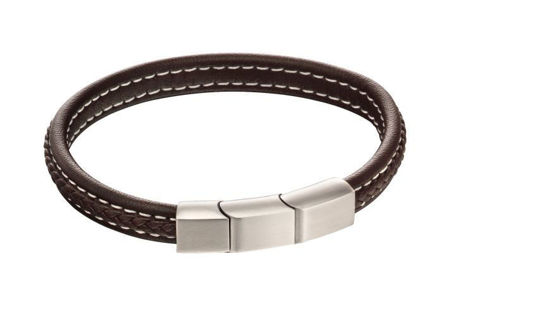 Picture of Plait Mixed Brushed Finish Brown Leather Bracelet