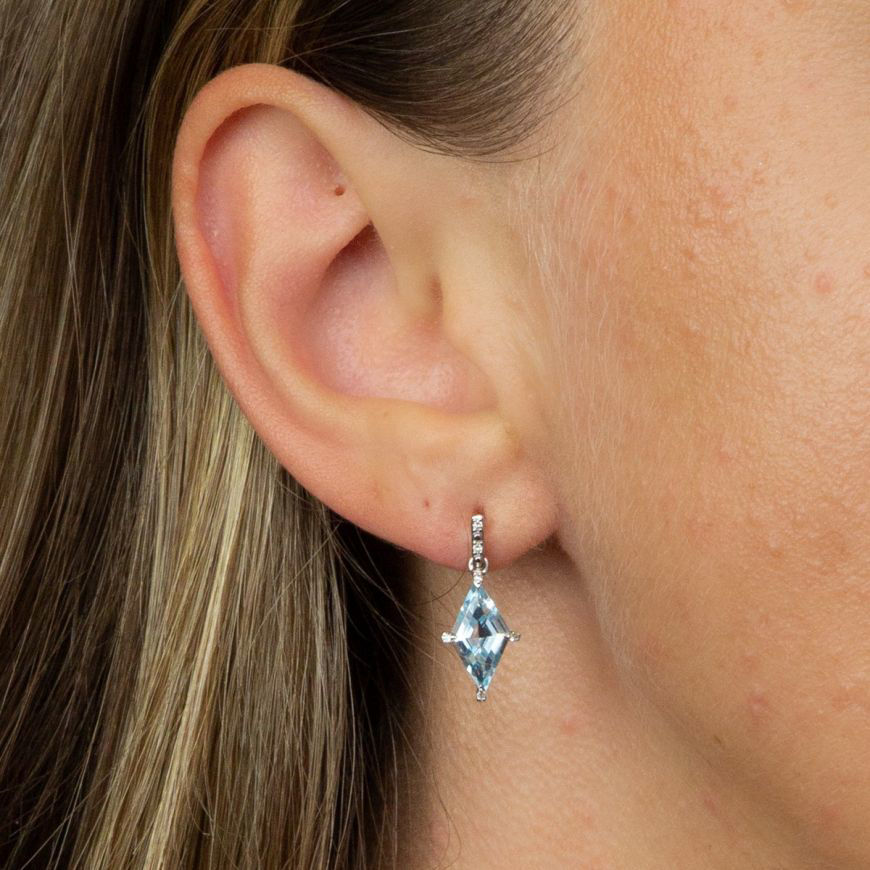 Picture of Kite Shape Blue Topaz Earrings in White Gold