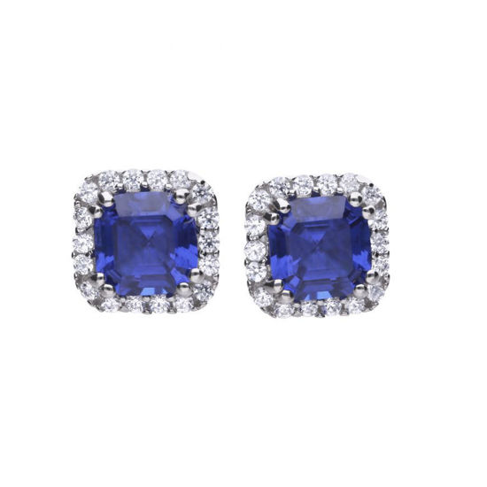 Picture of Cushion Cut Sapphire And Clear Earrings