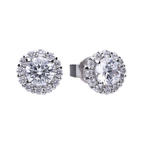 Picture of Solitaire 1.36ct Pave Set Stud Earrings