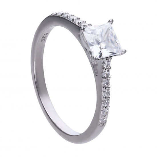 Picture of Princess Cut Ring with Pave Shoulders
