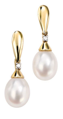 Picture of Pearl and Diamond Drop Earrings