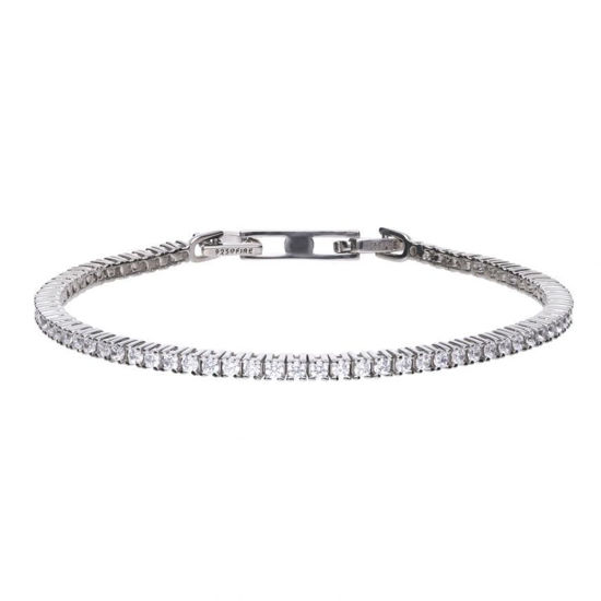 Picture of Fine Tennis Bracelet Silver With White Diamonfire Zirconia Stones And Prong Setting.