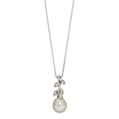 Picture of Pearl and Diamond Leaf Design Necklace