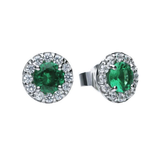 Picture of Green Round Pave Stud Earrings