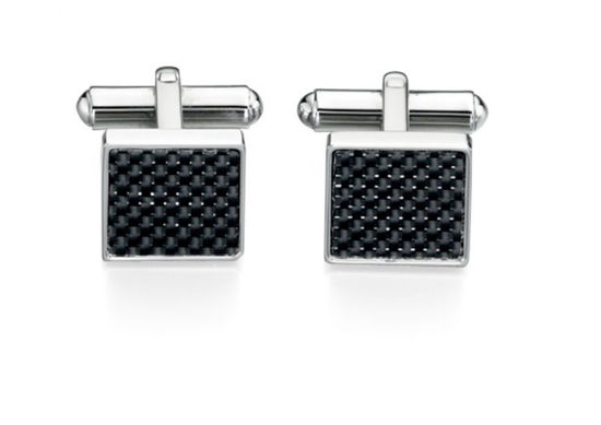 Picture of Stainless Steel Black Carbon Fiber Cufflink