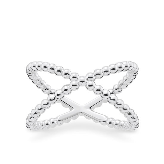 Picture of Dot Cross Over Ring in Silver