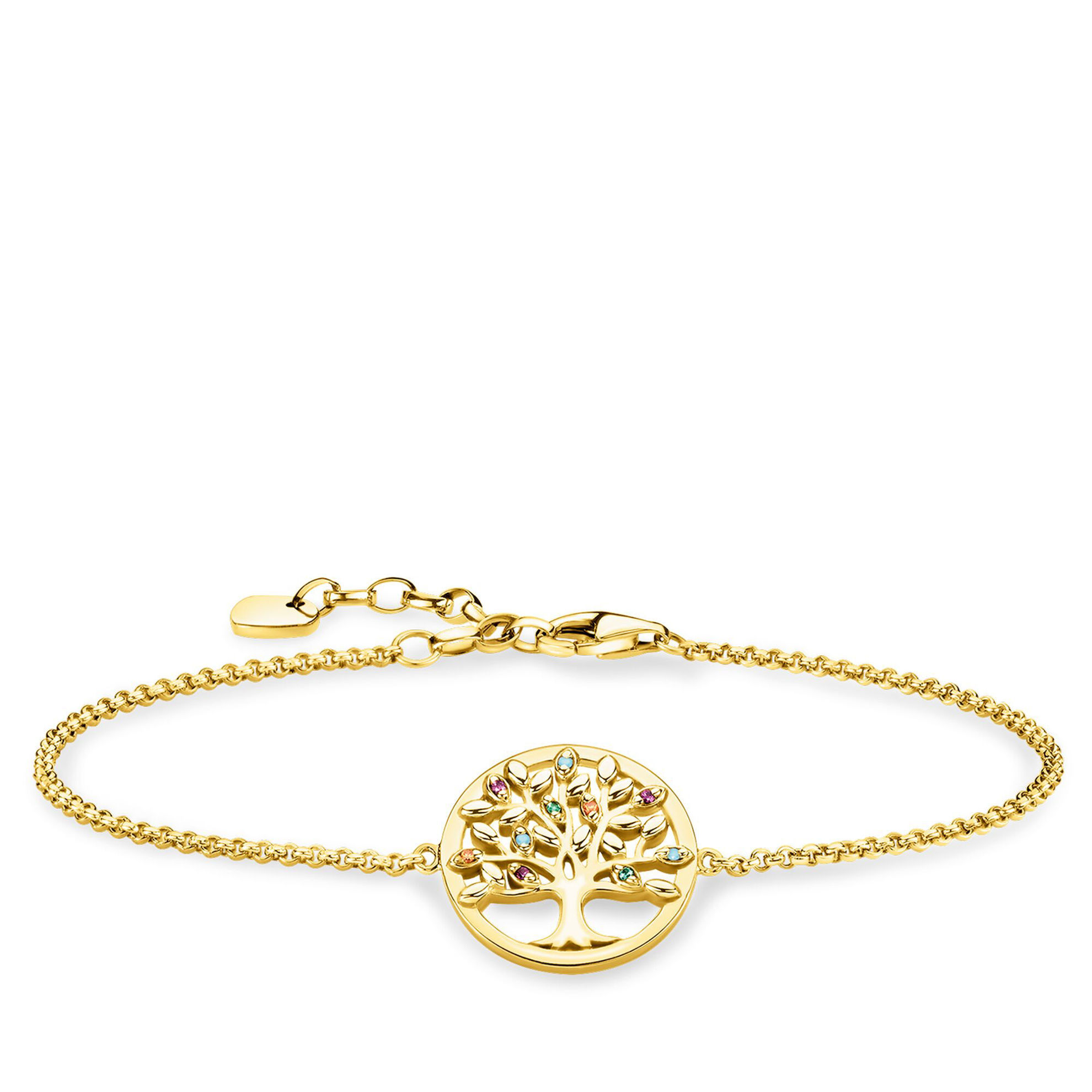 Picture of Colourful Tree of Life Bracelet in Gold