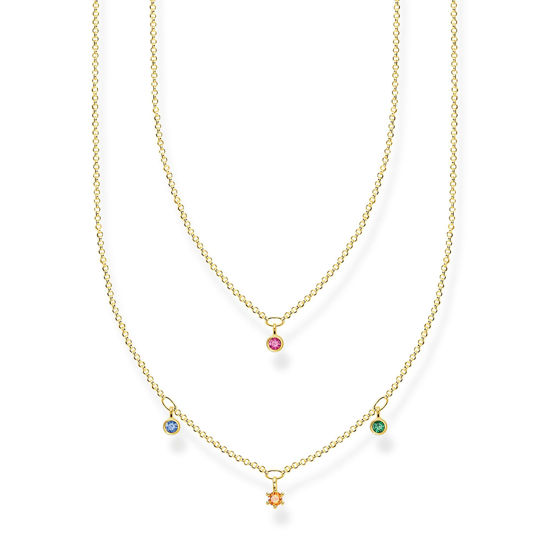 Picture of Multi-coloured Double Row Drop Necklace in Gold