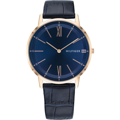 Picture of Cooper Rose Gold Plated Blue Dial Leather Strap Watch