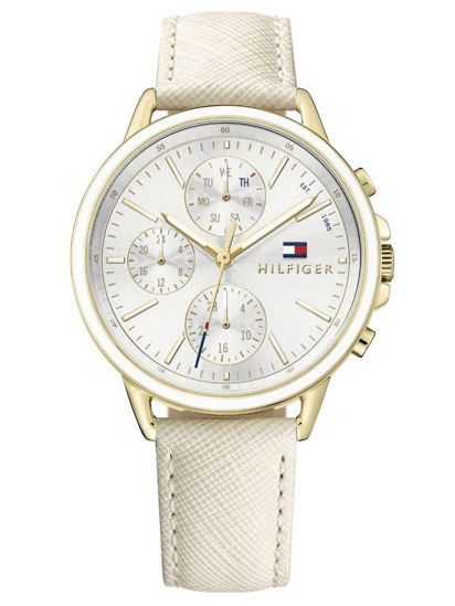 Picture of Carly Gold Plated Chronograph Dial Nude Leather Strap Watch