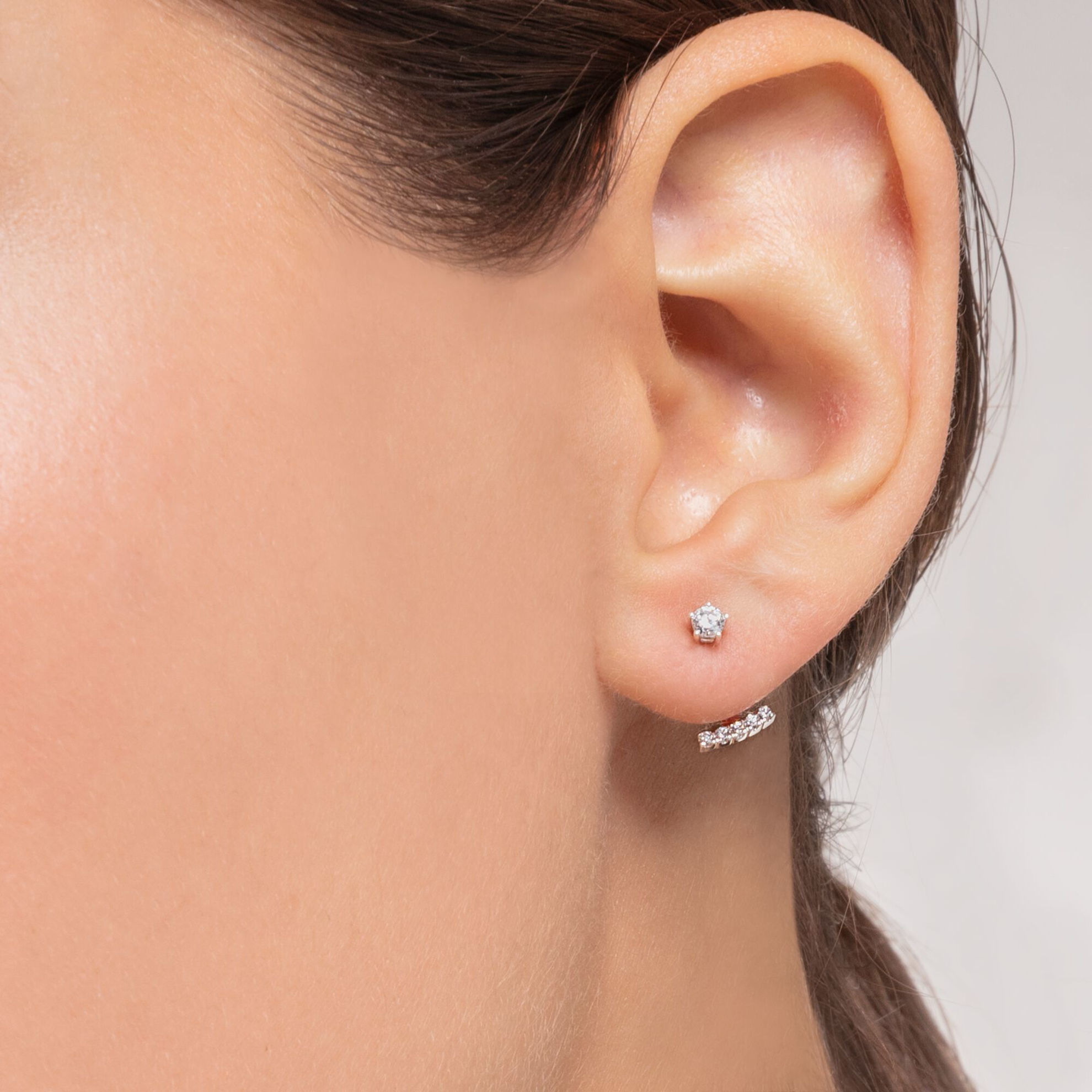 Picture of Single Stud Ear Jacket in Silver