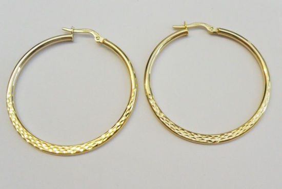 Picture of 9ct Yellow Gold 35mm Half Diamond Cut Hoops