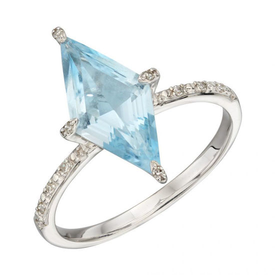 Picture of Kite Shaped Blue Topaz Ring