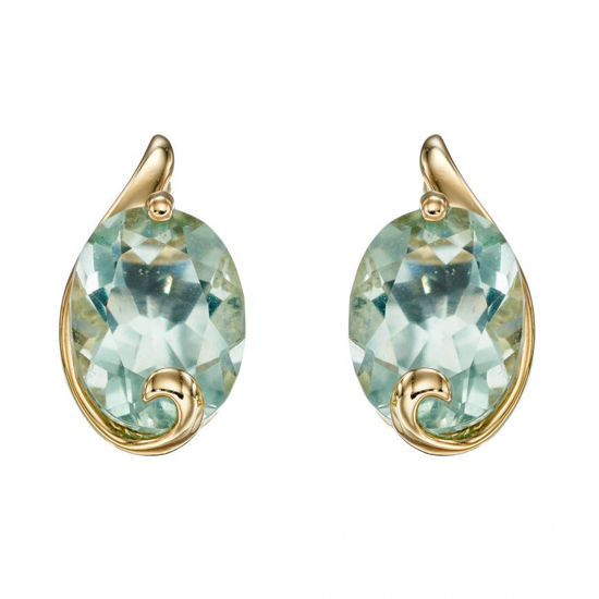Picture of Green Fluorite Swirl Studs in Yellow Gold