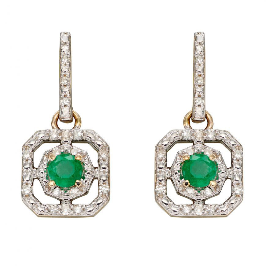 Picture of Emerald and Diamond Art Deco Earrings