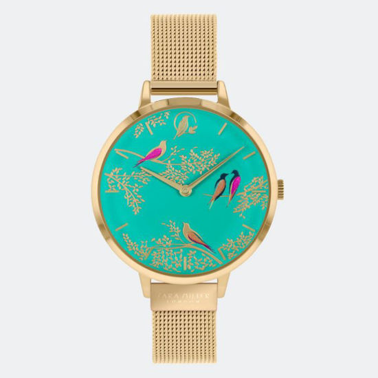 Picture of GREEN BIRDS GOLD MESH WATCH