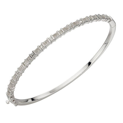 Picture of Baguette Bar Diamond Bangle In 9ct White Gold