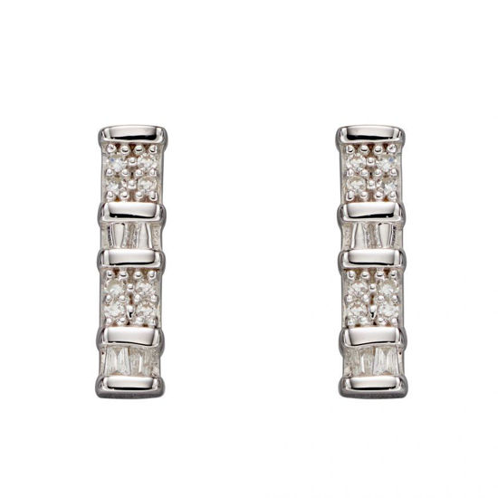 Picture of Baguette Bar Diamond Earrings In 9ct White Gold