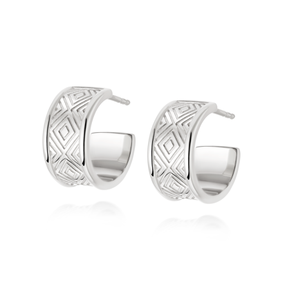 Picture of Artisan Chunky Hoop Earrings. Silver or Gold.
