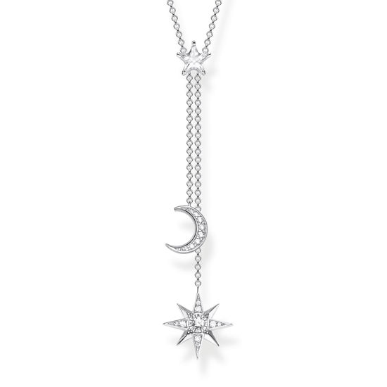 Picture of Star and Moon Necklace in Silver