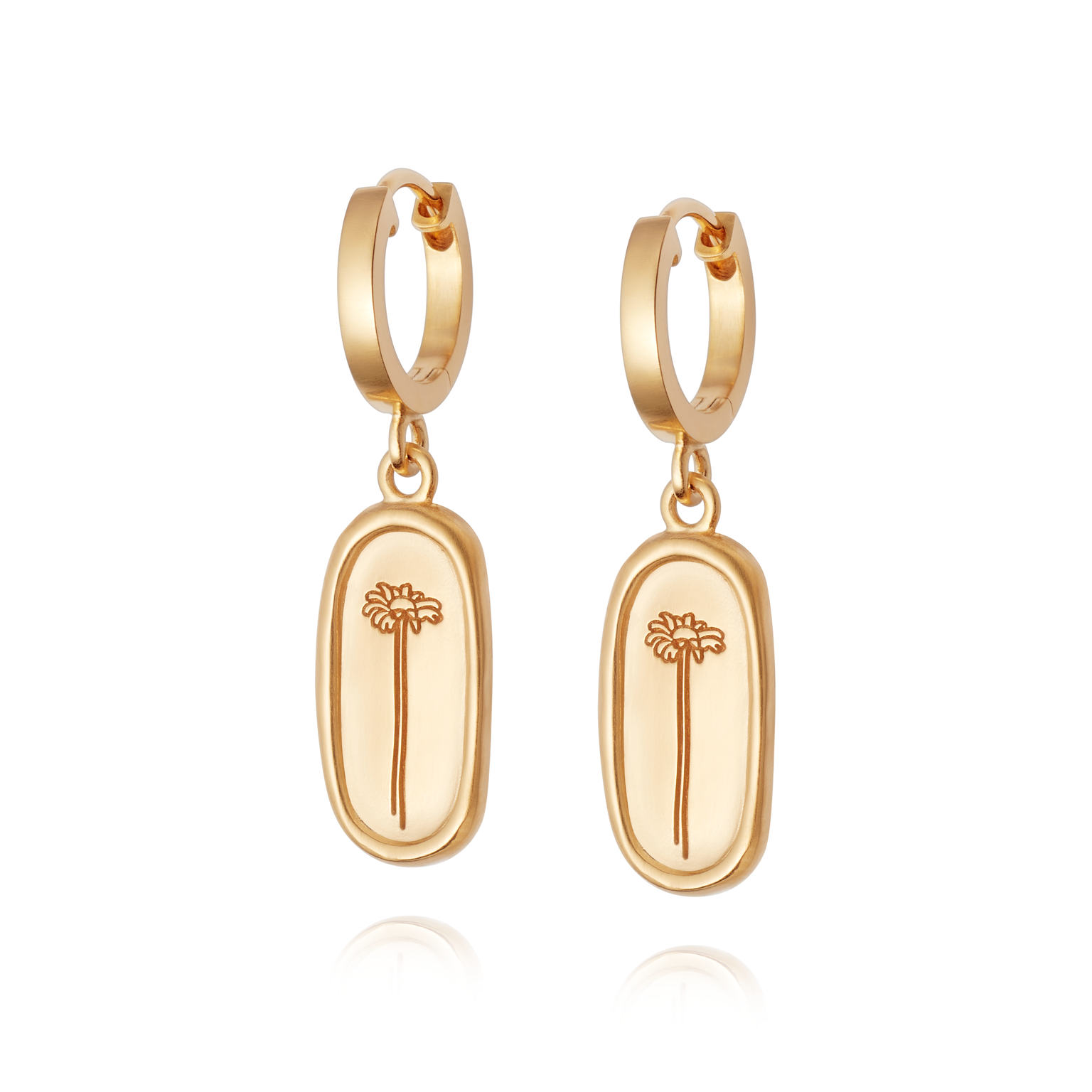 Picture of Floriography Single Daisy Drop Earrings 18ct Gold Plate