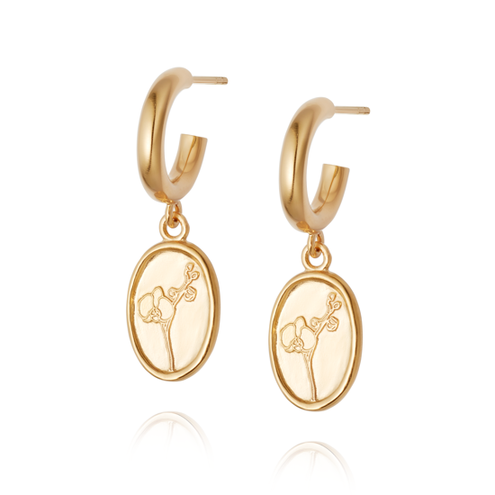 Picture of Floriography Orchid Drop Earrings 18ct Gold Plate