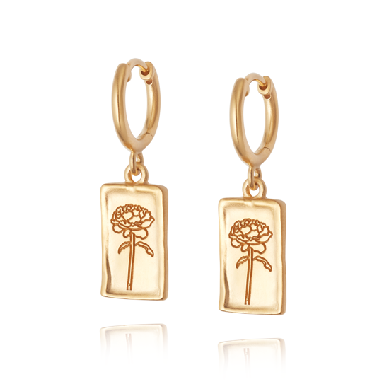 Picture of Floriography Rose Drop Earrings 18ct Gold Plate