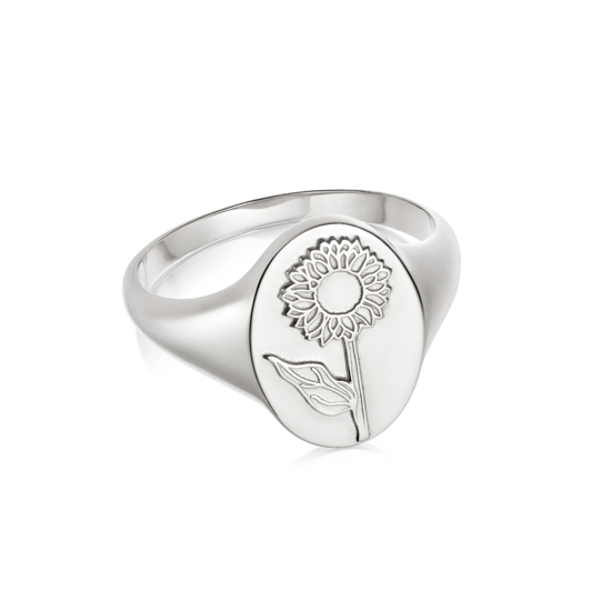 Picture of Floriography Sunflower Signet Ring Sterling Silver