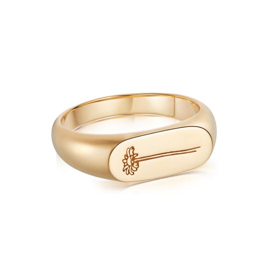 Picture of Floriography Single Daisy Signet Ring 18ct Gold Plate