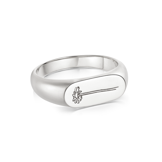 Picture of Floriography Single Daisy Signet Ring Sterling Silver
