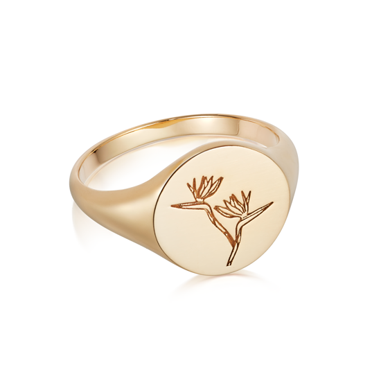 Picture of Floriography Bird Of Paradise Signet Ring 18ct Gold Plate