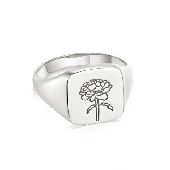 Picture of Floriography Rose Signet Ring Sterling Silver