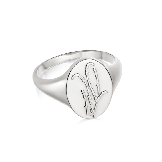 Picture of Floriography Lavender Signet Ring Sterling Silver