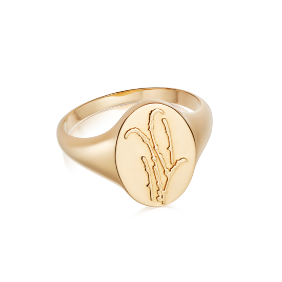 Picture of Floriography Lavender Signet Ring 18ct Gold Plate