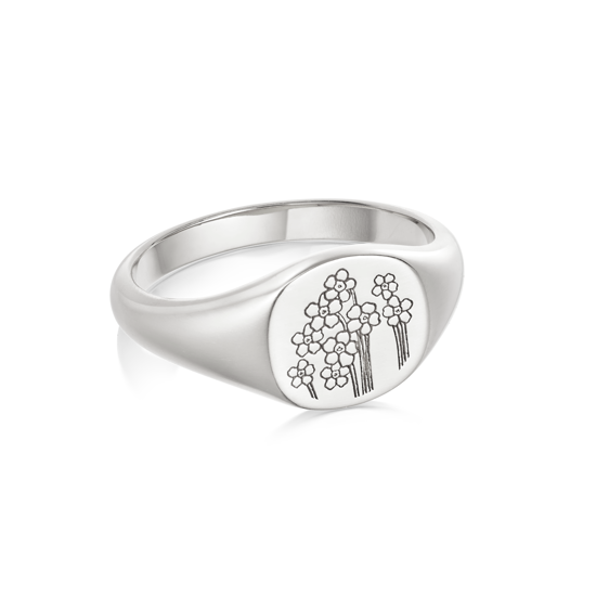 Picture of Floriography Forget Me Not Signet Ring Sterling Silver