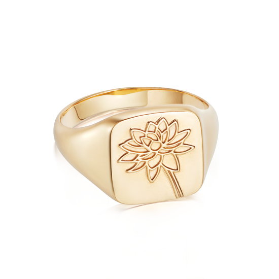 Picture of Floriography Water Lily Signet Ring 18ct Gold Plate