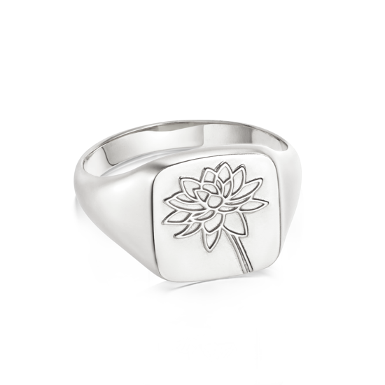 Picture of Floriography Water Lily Signet Ring Sterling Silver