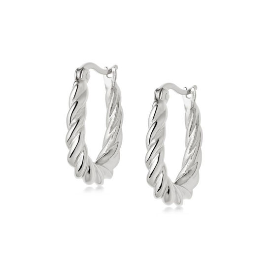 Picture of Stacked Rope Creole Hoop Earrings Sterling Silver